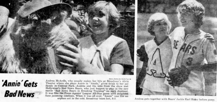 Annie star Andrea McArdle with the Bad News Bears (1977)