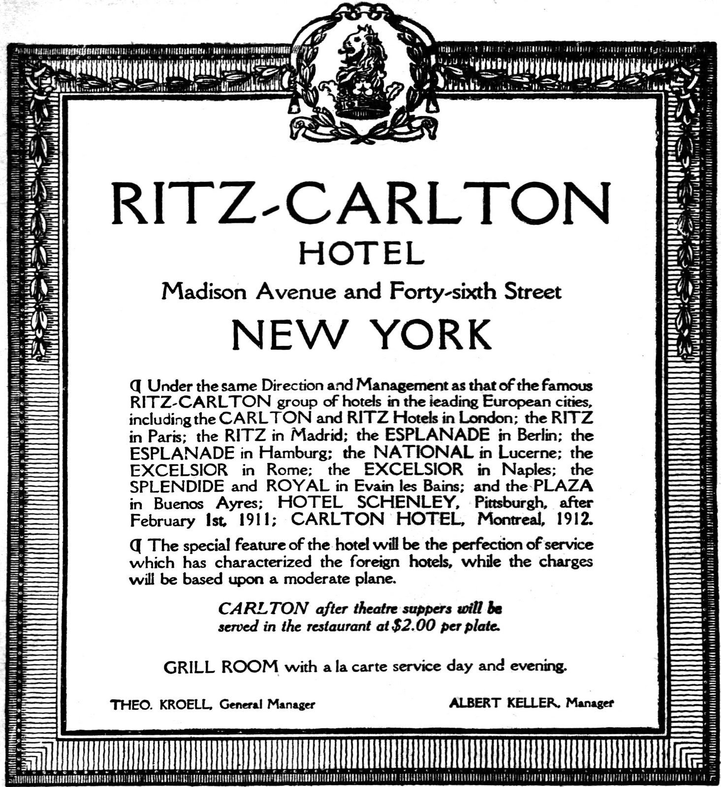Announcement about opening of the Ritz-Carlton Hotel - January 1, 1911