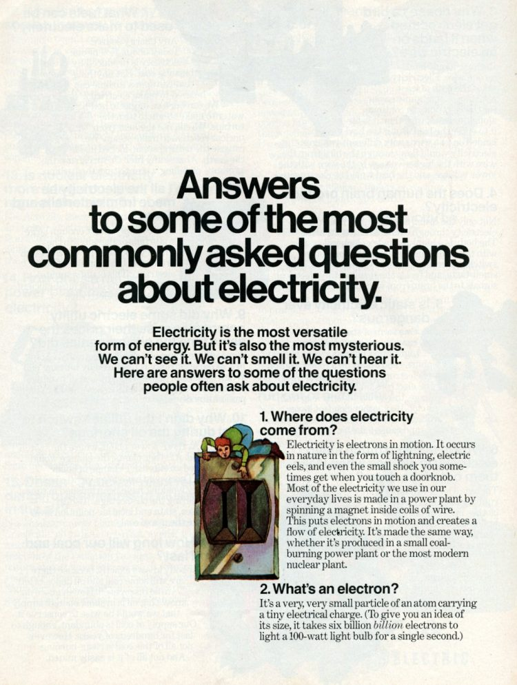 Answers to common questions about electricity (1976)