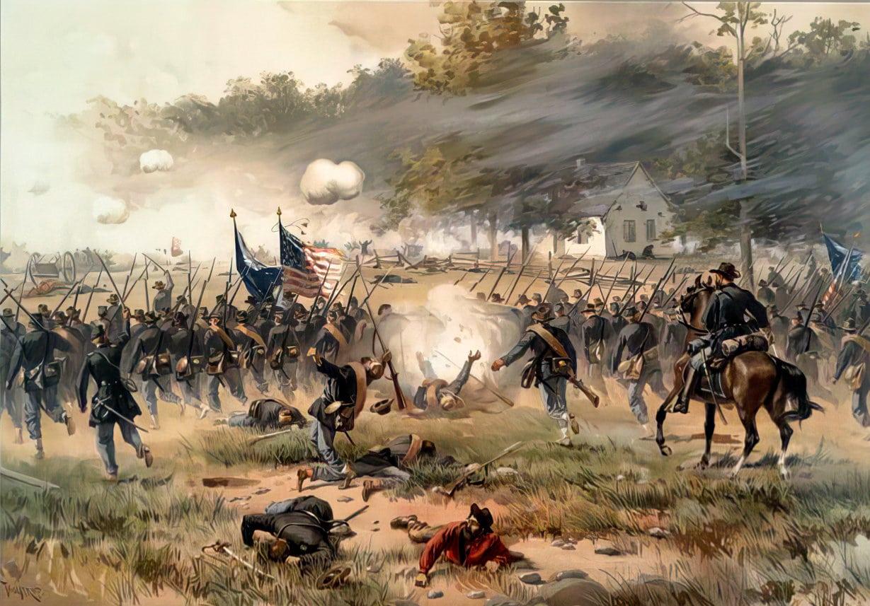 Antietam Battle scene in front of Dunker Church (1862)