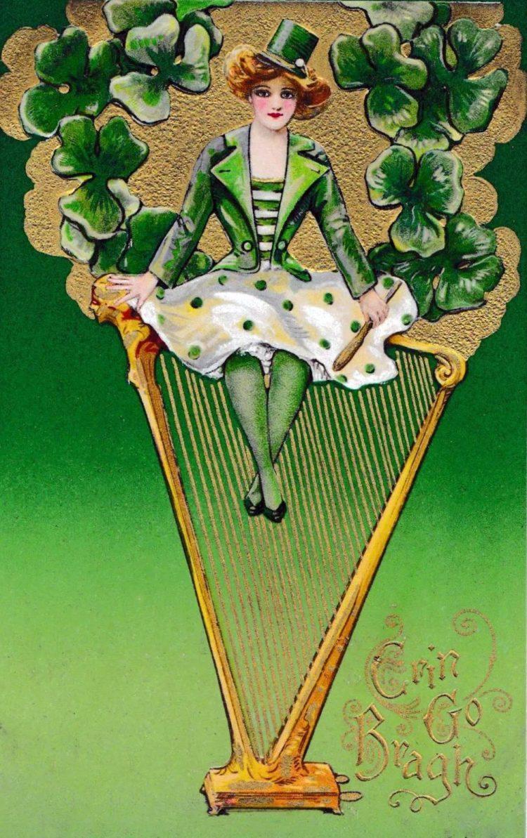 Vintage St Patrick's Day postcards - Antique Samuel Schmucker St. Patrick's Day postcard - Girl on Celtic harp