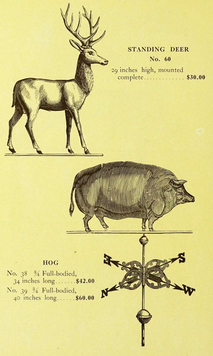 Antique 1920s weather vanes - Metal designs from 1921 (11)