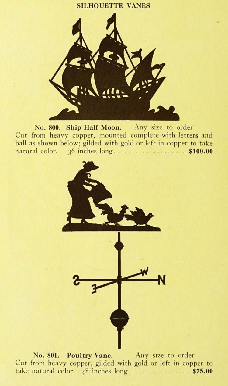 Antique 1920s weather vanes - Metal designs from 1921 (2)