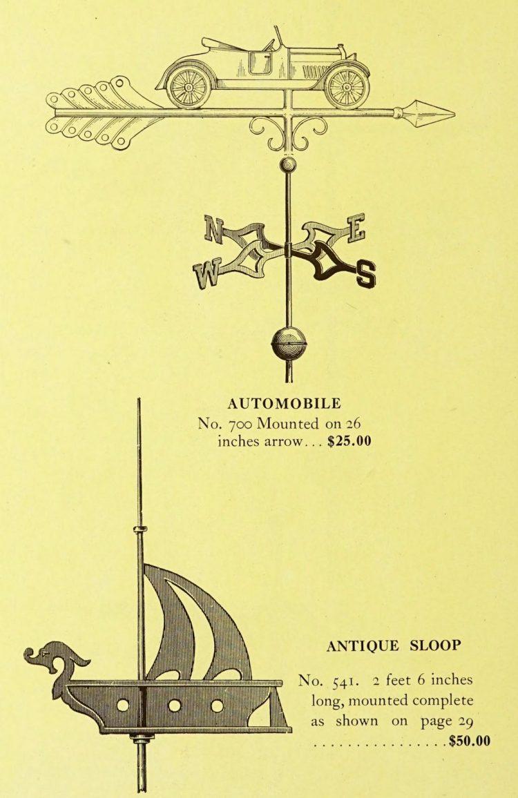 Antique 1920s weather vanes - Metal designs from 1921 (21)