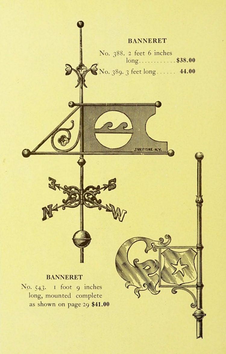 Antique 1920s weather vanes - Metal designs from 1921 (22)