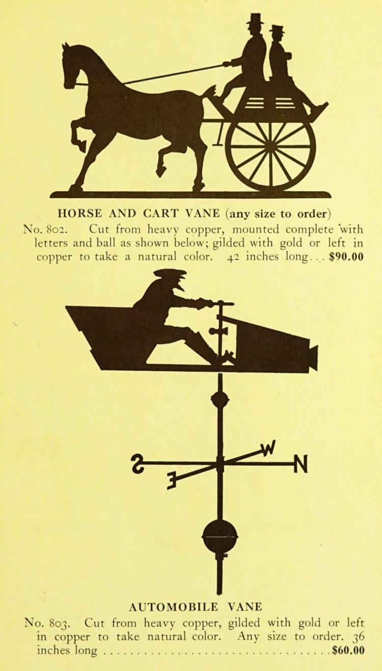 Antique 1920s weather vanes - Metal designs from 1921 (3)