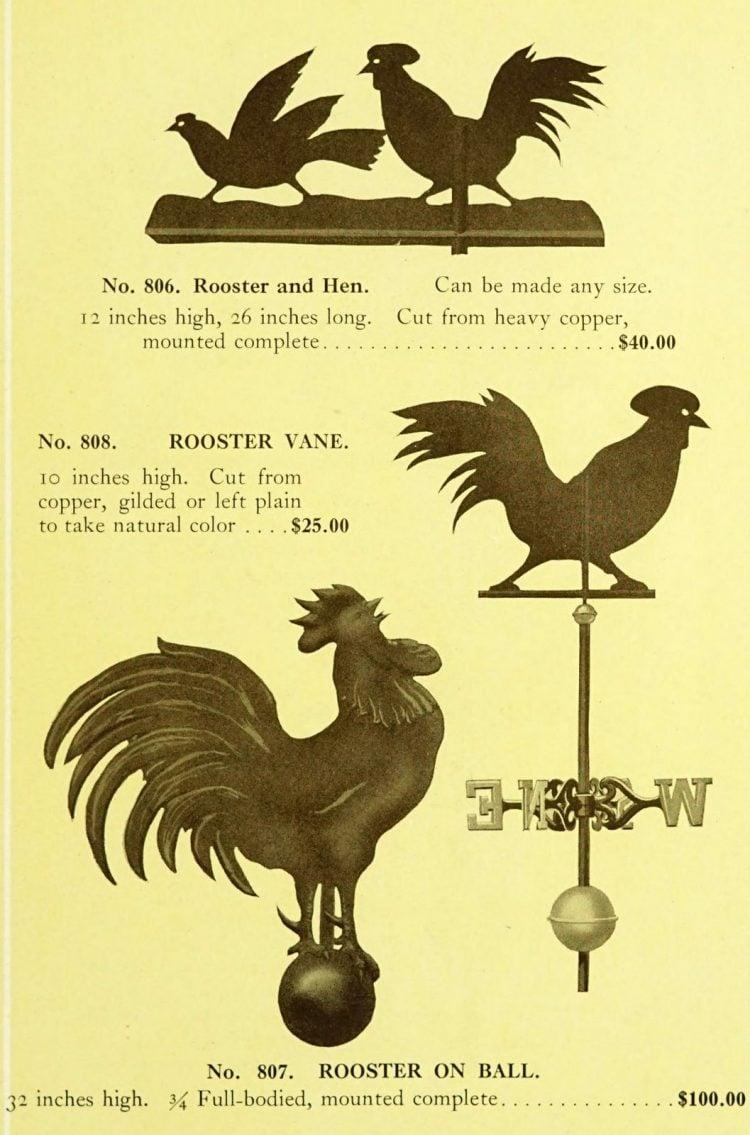 Antique 1920s weather vanes - Metal designs from 1921 (5)