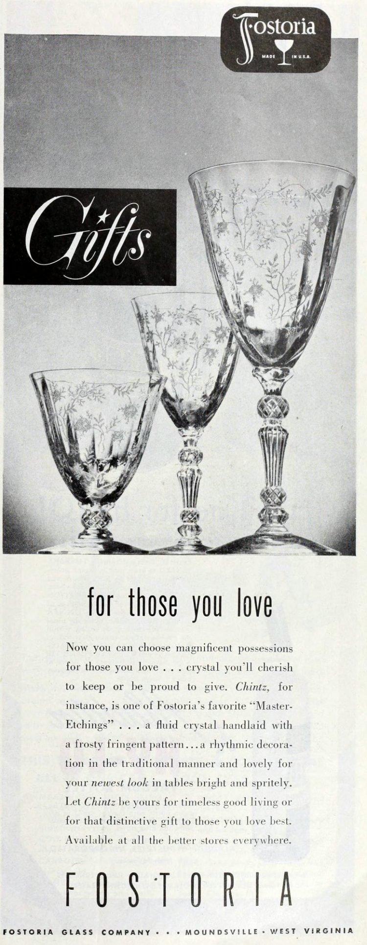 Antique 1940s Fostoria glassware from 1949 (1)