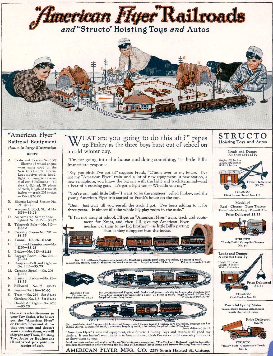 Antique American Flyer railroads from 1924