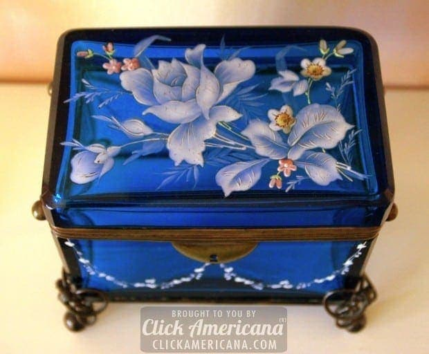 Antique enameled blue glass sugar caskets (1800s)