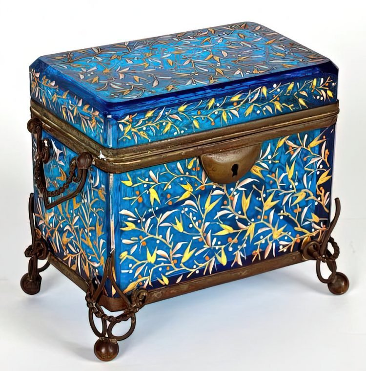 Antique Bohemian enameled blue glass box