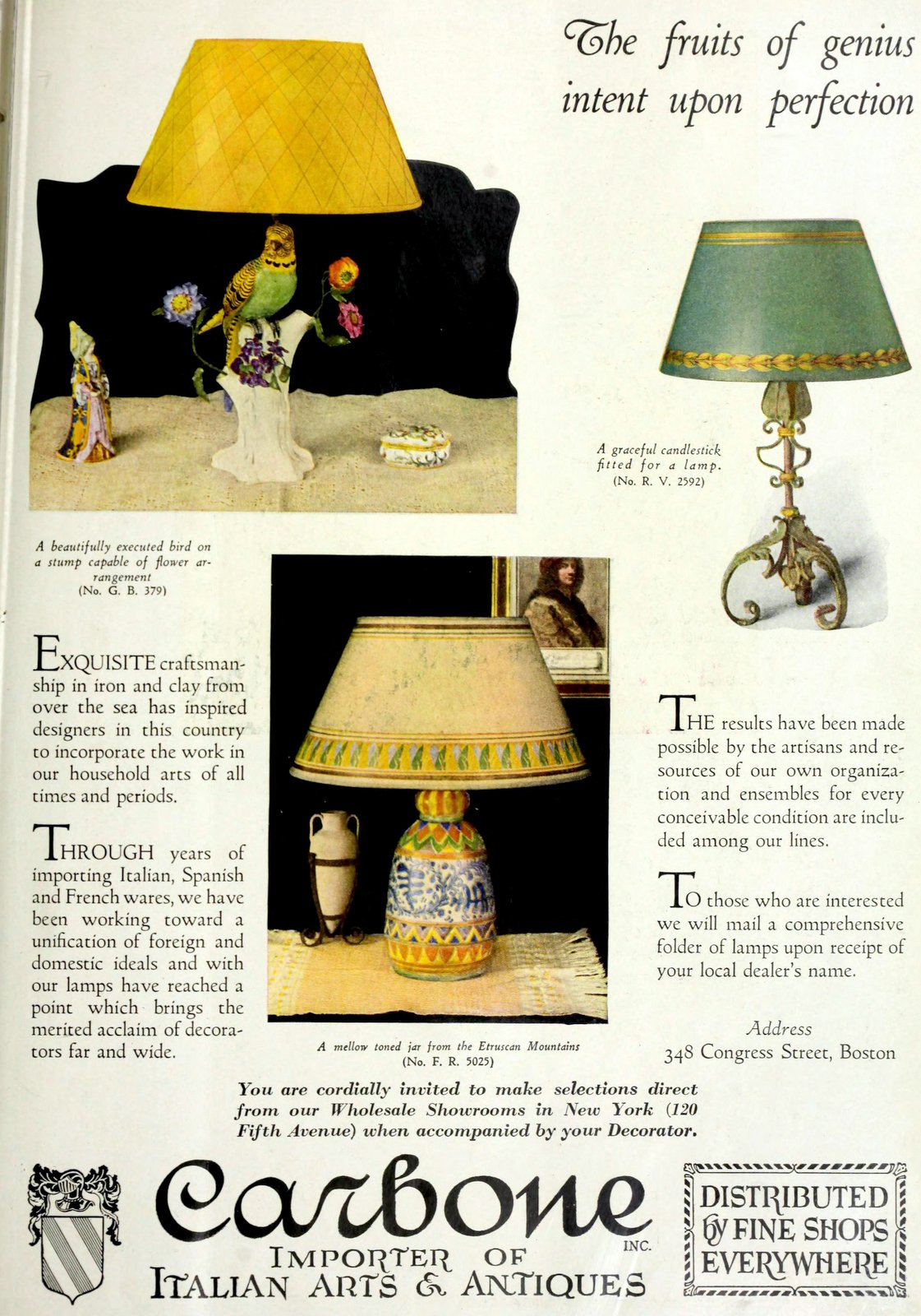 Antique Carbone lamps and shades (1927)