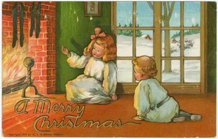 Antique Chistmas card with two little kids by a fireplace