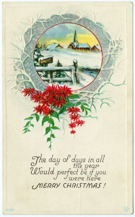 Antique Christmas card from 1917 - The day of days in all the year