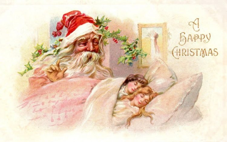Antique Christmas card with Santa Claus from c1911