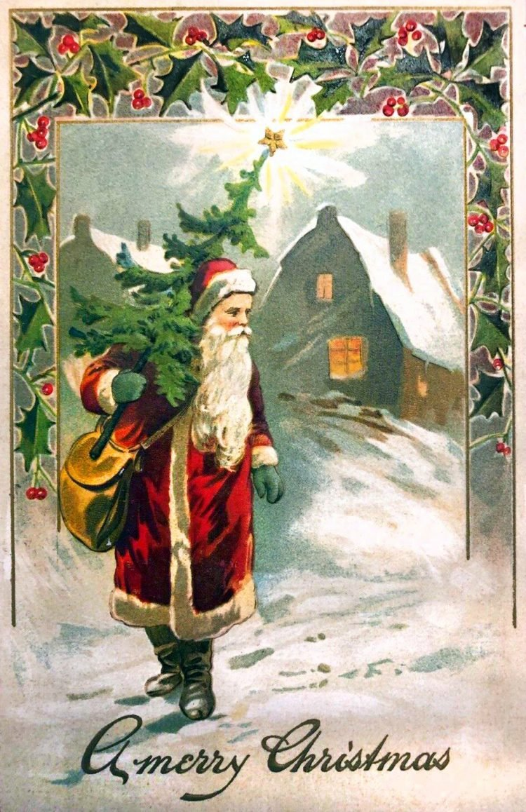 Antique Christmas card with St Nick-Father Christmas