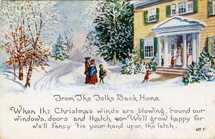 Antique Christmas card with quaint old-fashioned house and snow from 1919 - From the folks back home