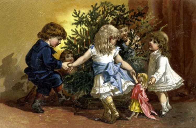 Antique Christmas postcard - Kids playing around a tree