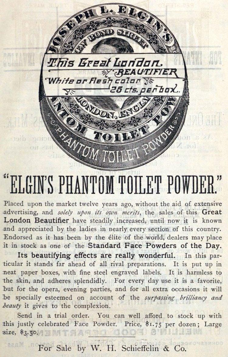 Antique Elgin's Phantom Toilet Powder (1883)