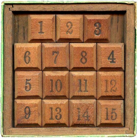 Antique Fifteen Puzzle - Sliding numbers