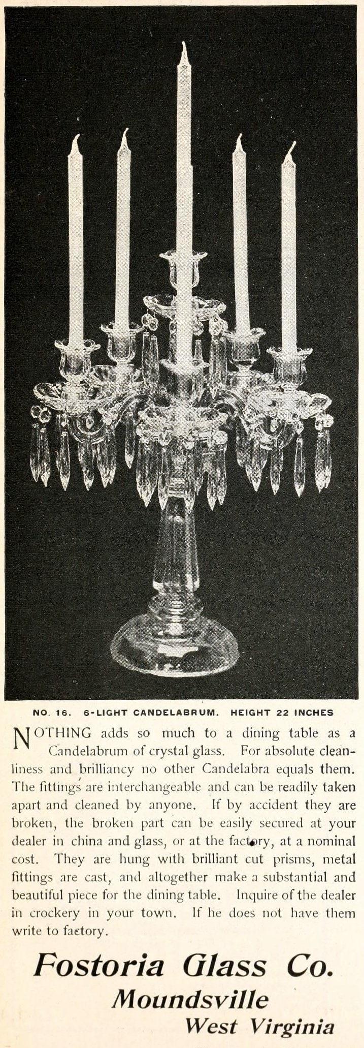 Antique Fostoria Glass from 1896 - Candelabrum