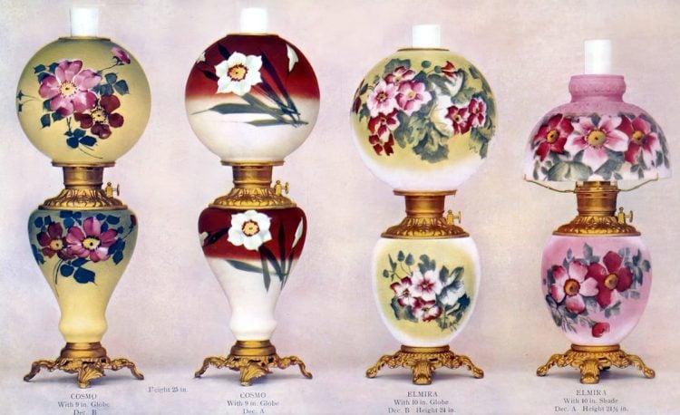 Antique Fostoria Painted and decorated antique oil lamps (1904)