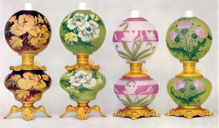 Antique Fostoria glass company oil lamps from 1904 (2)