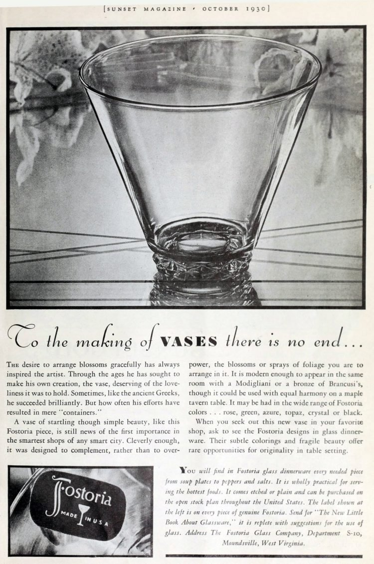 Antique Fostoria vases from 1930