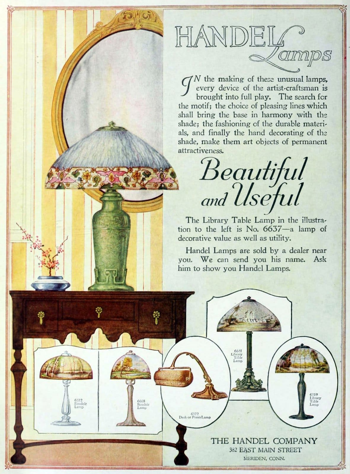 Antique Handel glass shade lamps (1919)