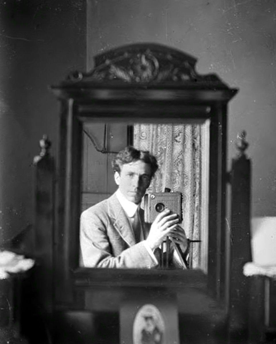 Antique Harold Cazneaux self-portrait in a mirror (1904) - Australia at ClickAmericana com