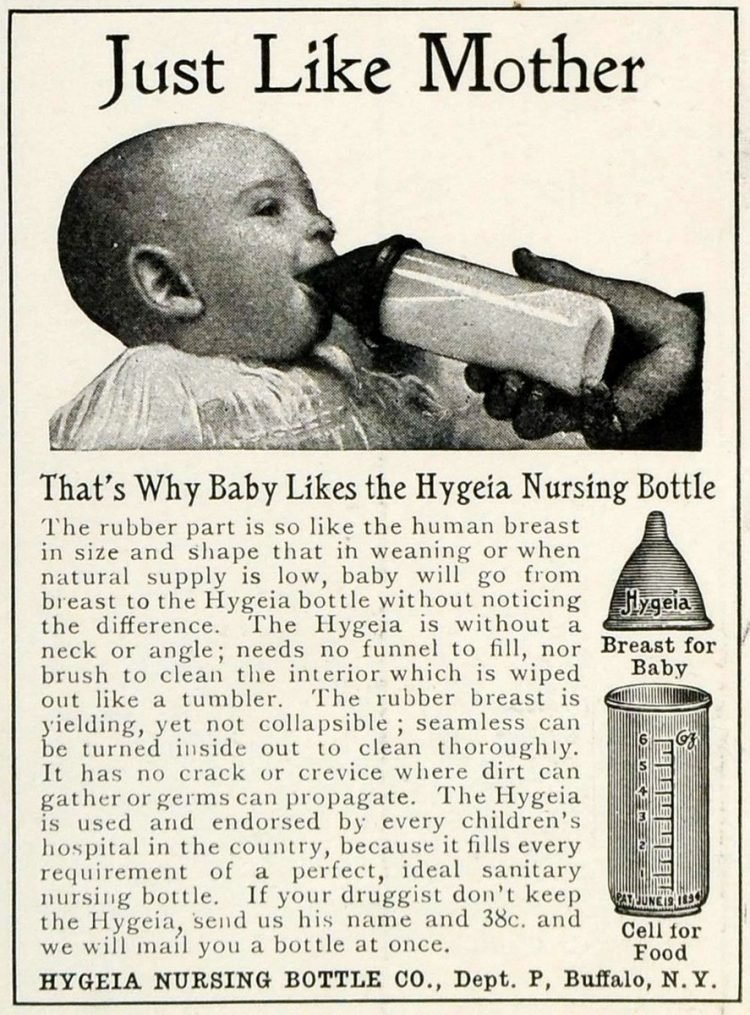 Antique Hygeia baby bottles 1906