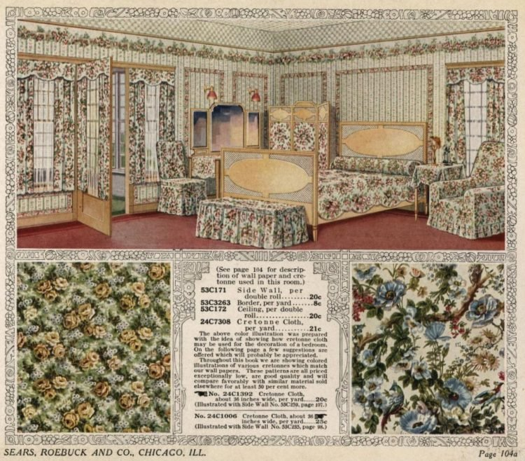 Antique Interior decor suggestions for a bedroom from 1916