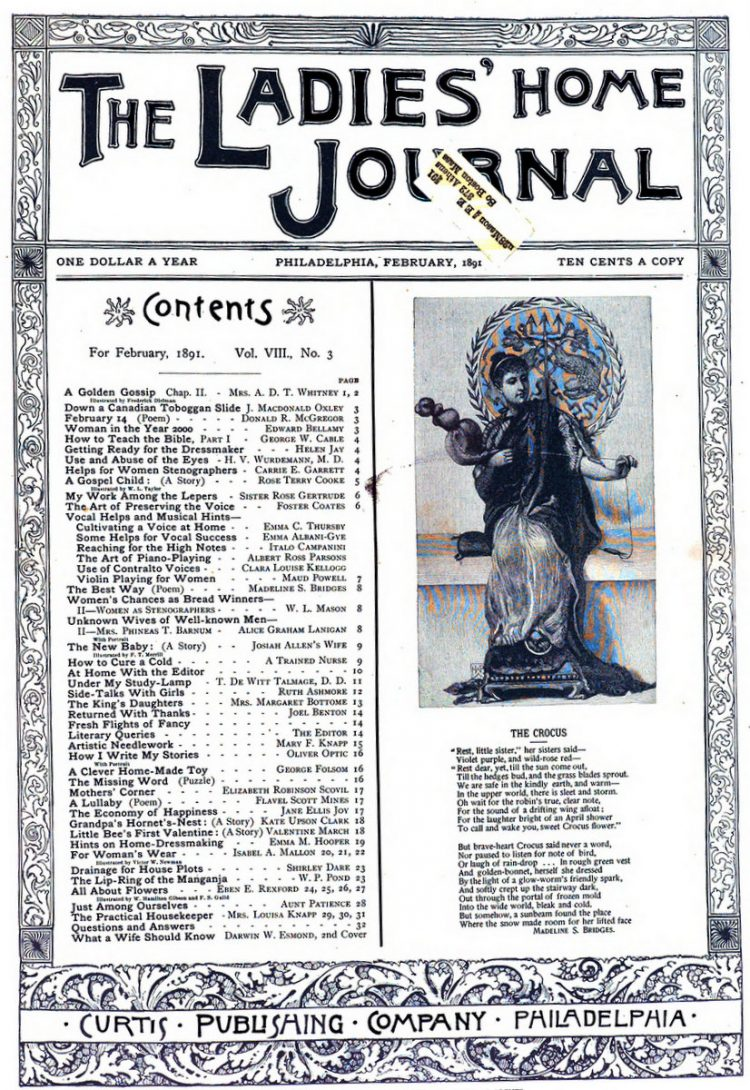 Antique Ladies Home Journal magazine cover from Victorian era - 02-1891