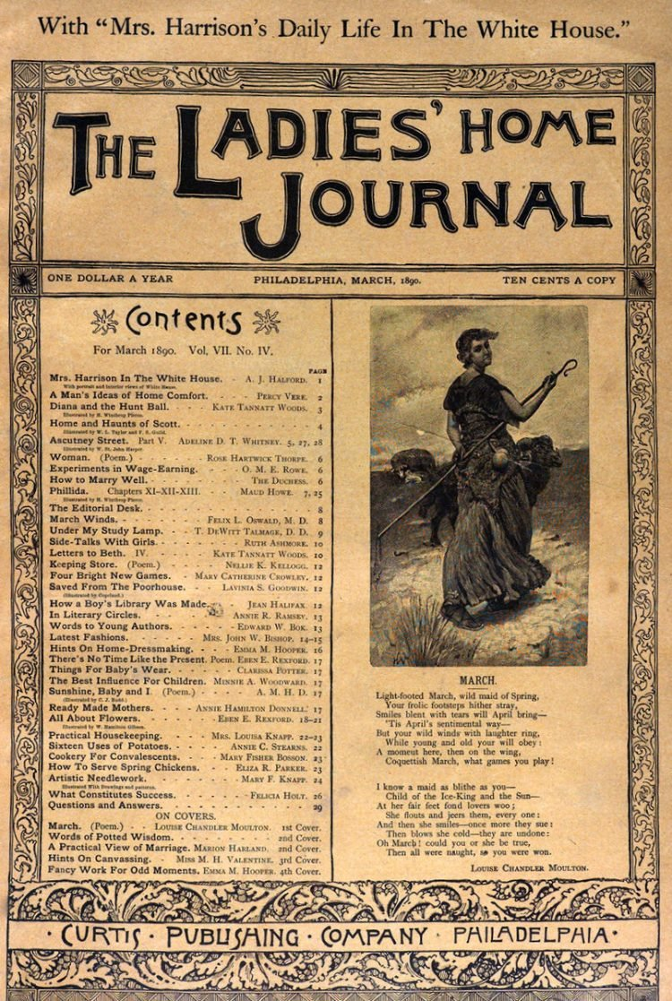 Antique Ladies Home Journal magazine cover from Victorian era - 03-1890