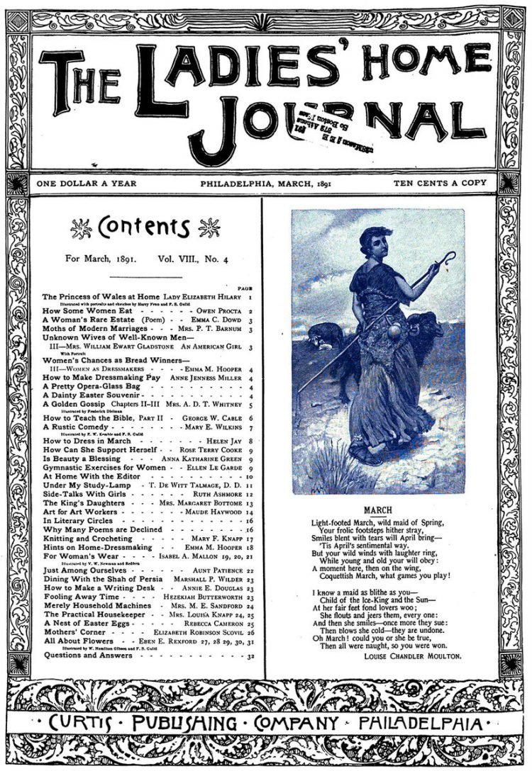 Antique Ladies Home Journal magazine cover from Victorian era - 03-1891