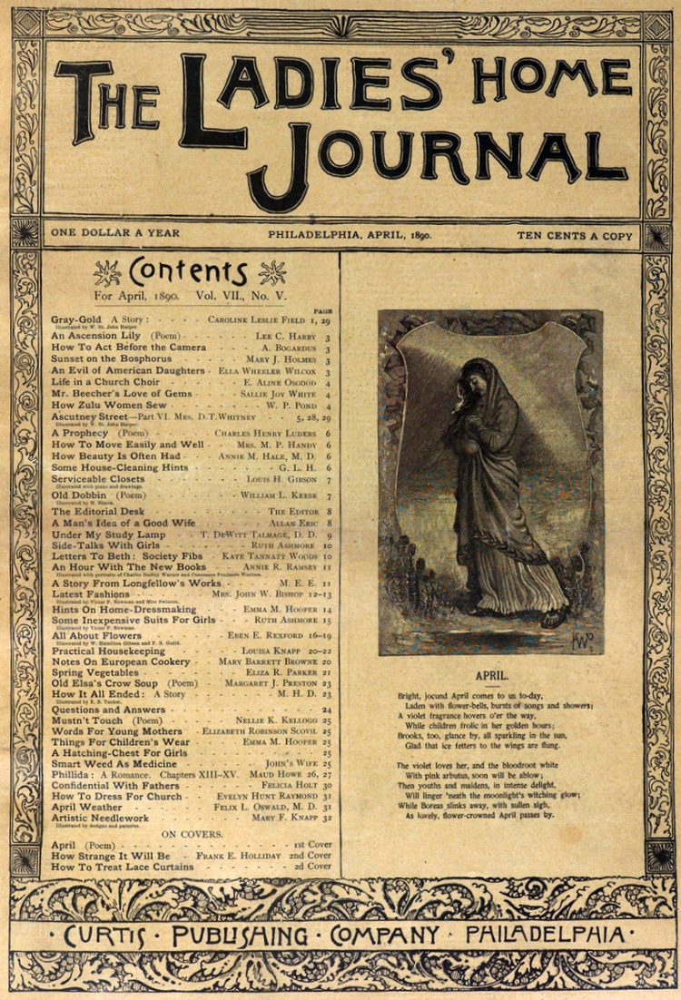 Antique Ladies Home Journal magazine cover from Victorian era - 04-1890