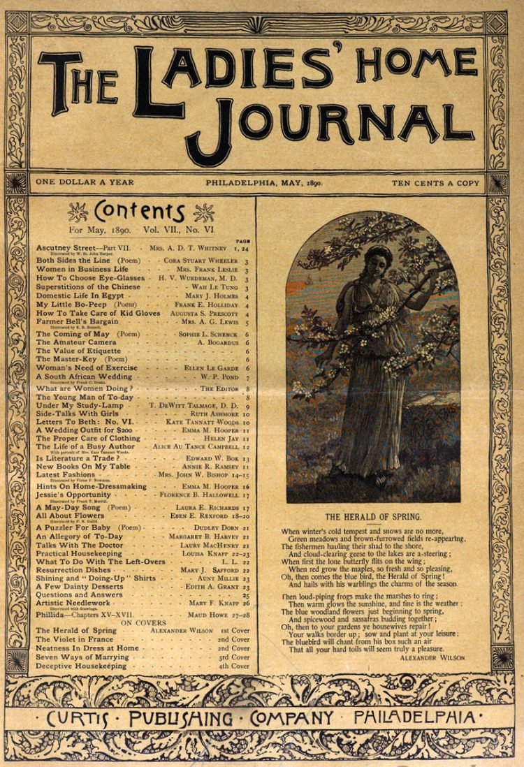 Antique Ladies Home Journal magazine cover from Victorian era - 05-1890