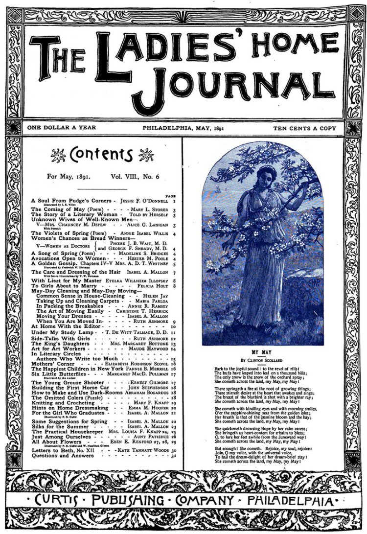 Antique Ladies Home Journal magazine cover from Victorian era - 05-1891