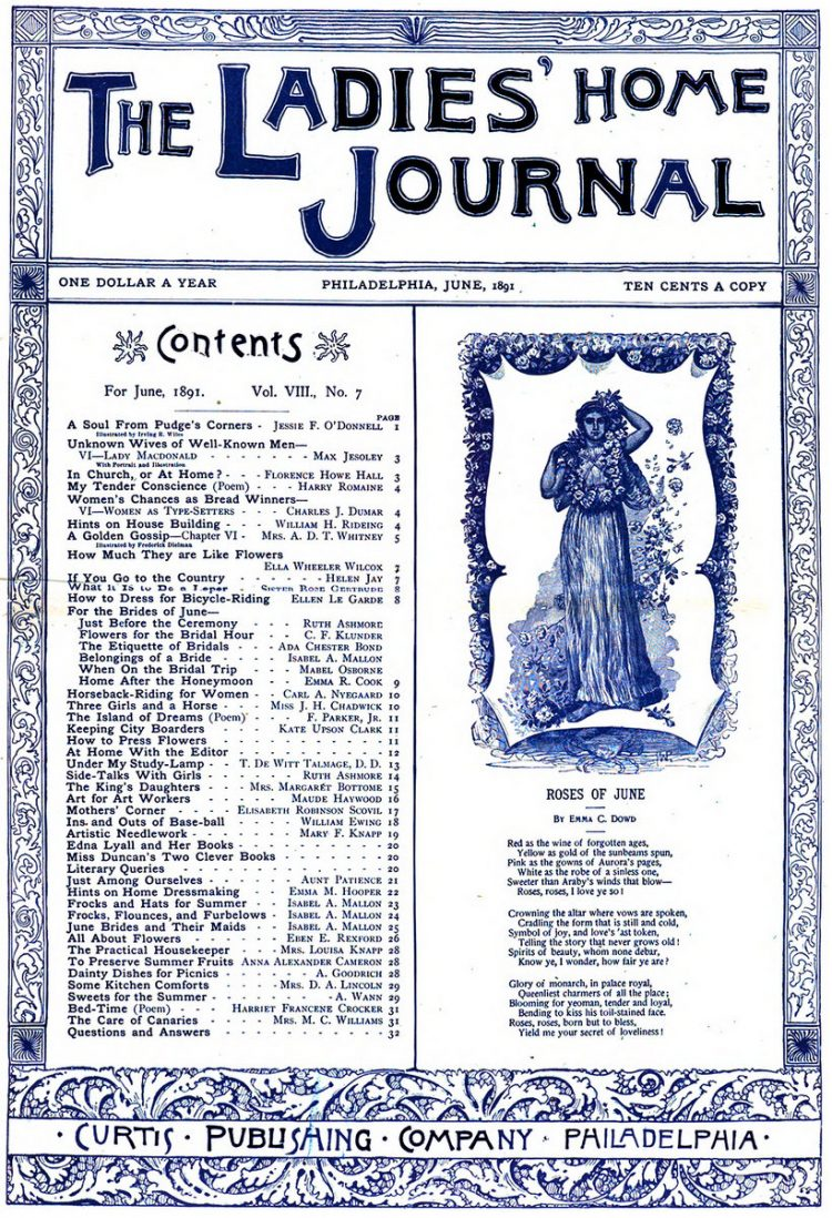Antique Ladies Home Journal magazine cover from Victorian era - 06-1891