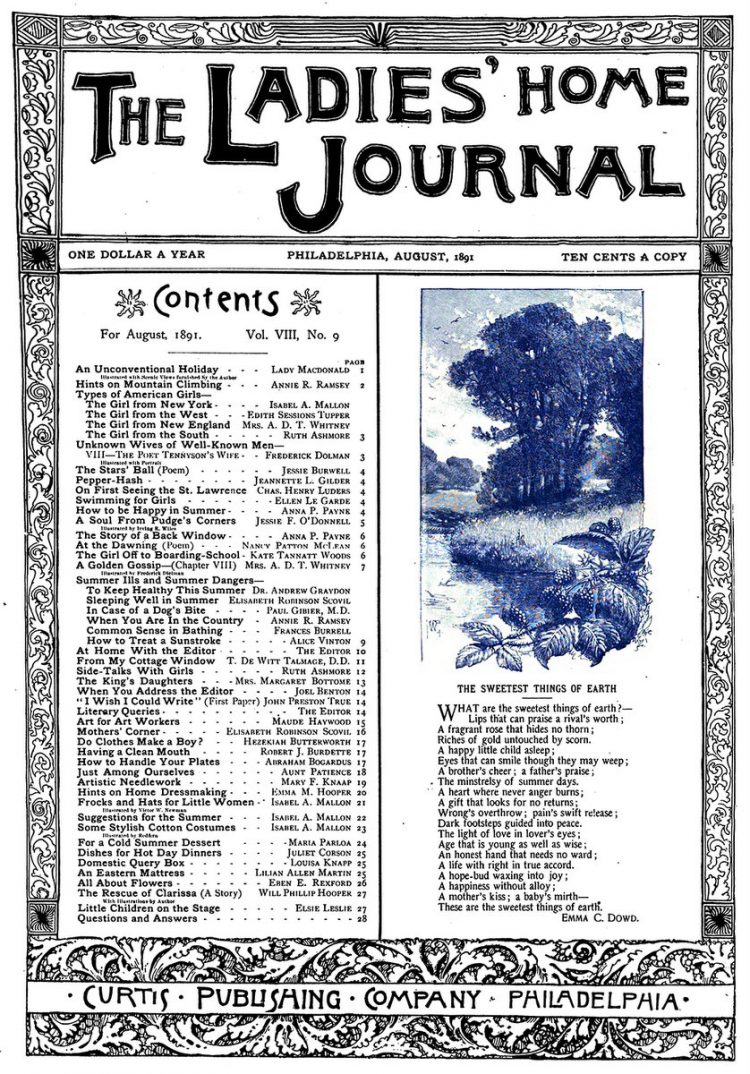 Antique Ladies Home Journal magazine cover from Victorian era - 08-1891