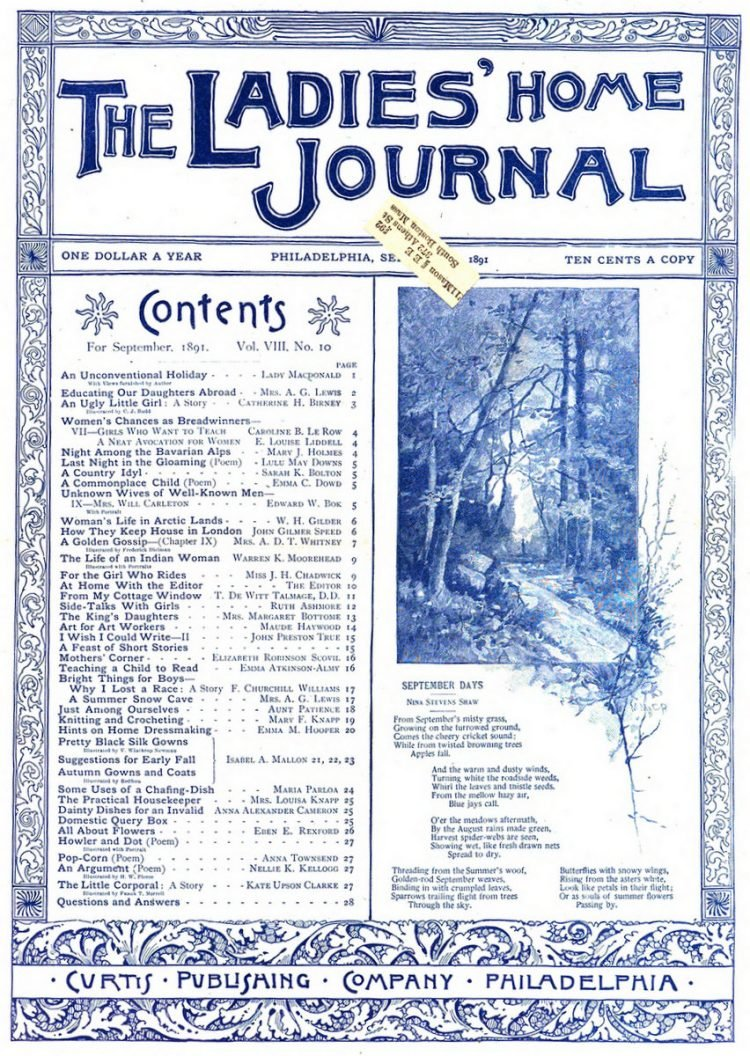 Antique Ladies Home Journal magazine cover from Victorian era - 09-1891