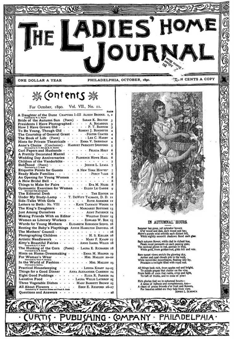 Antique Ladies Home Journal magazine cover from Victorian era - 10-1890