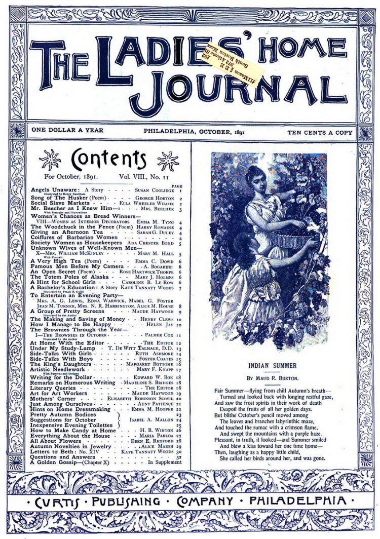 Antique Ladies Home Journal magazine cover from Victorian era - 10-1891