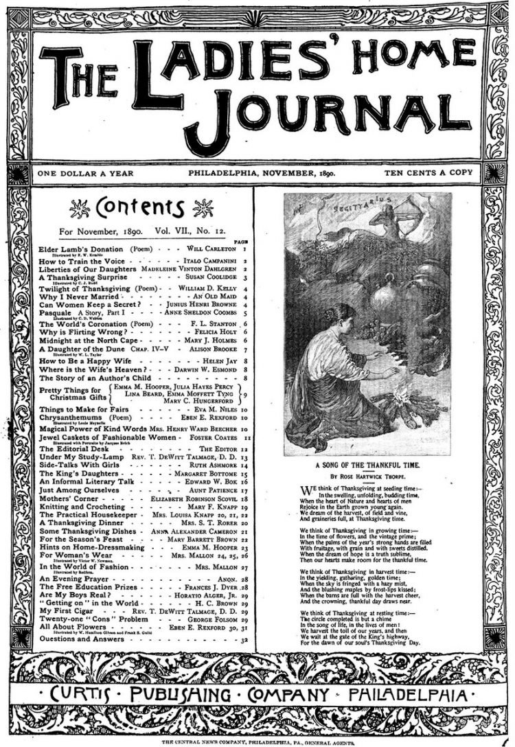 Antique Ladies Home Journal magazine cover from Victorian era - 11-1890