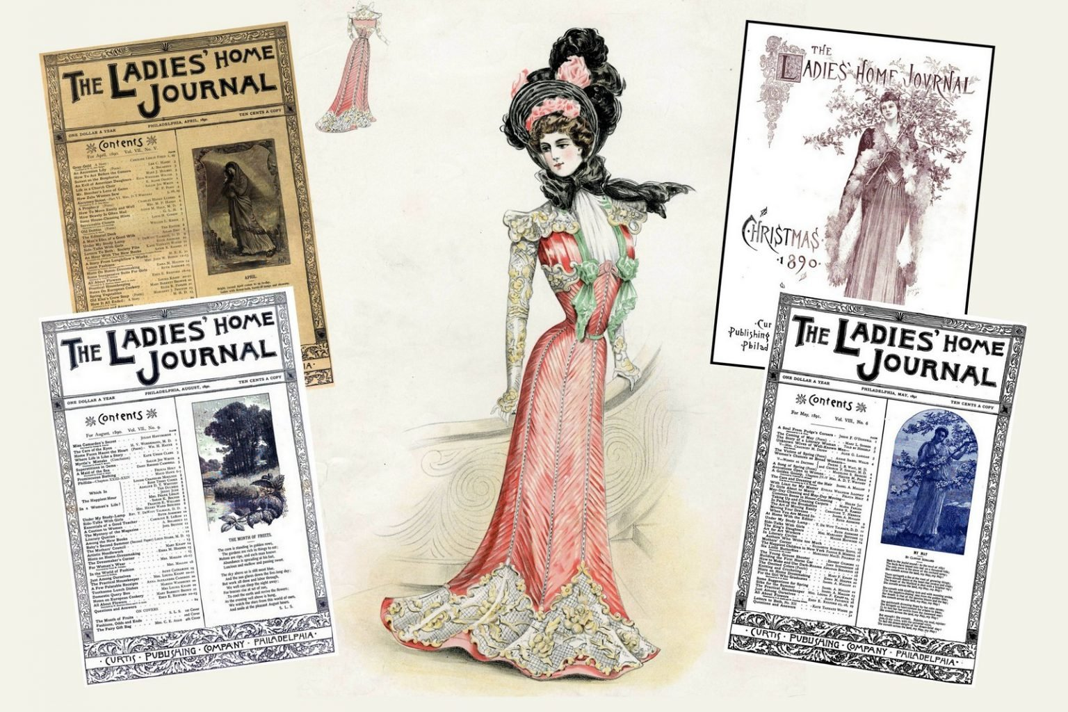 Antique Ladies' Home Journal magazine covers from the Victorian era