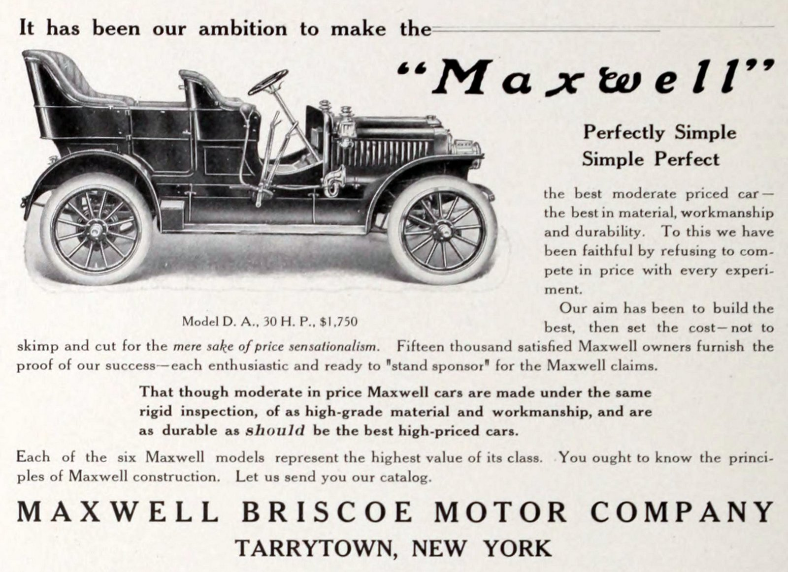 Antique Maxwell cars from 1909