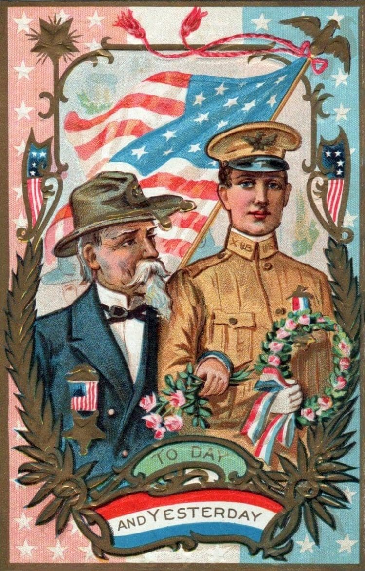 Antique Memorial Day Decoration Day postcard with soldiers c1915
