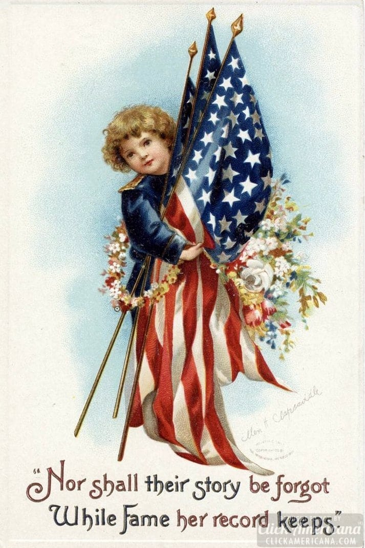 Antique Memorial Day postcard - Child with flags