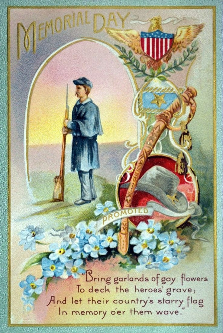 Antique Memorial Day postcard with soldier