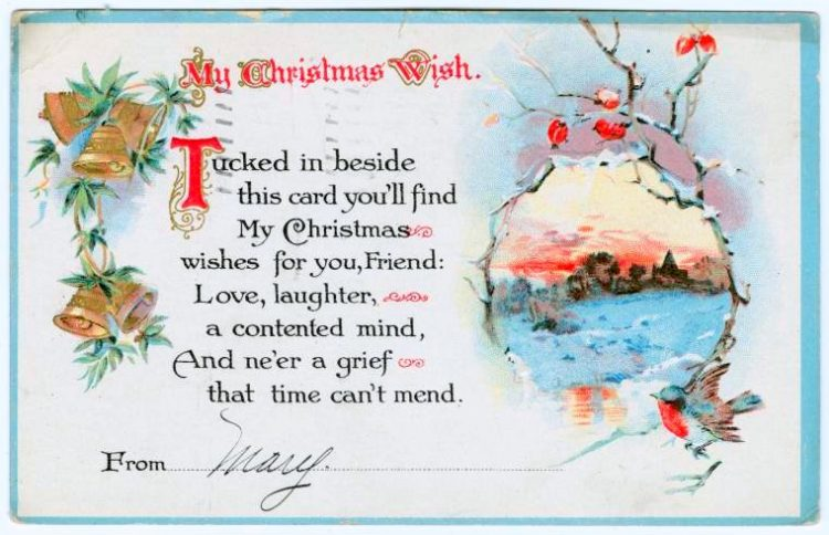Antique My Christmas wish postcard from 1915